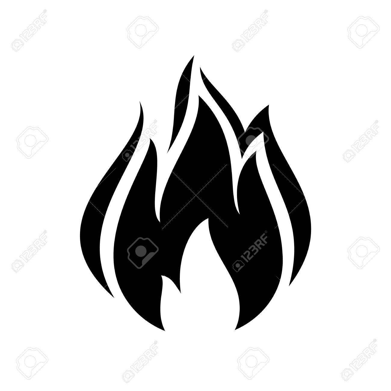 Fire flame icon, black icon isolated on white background.