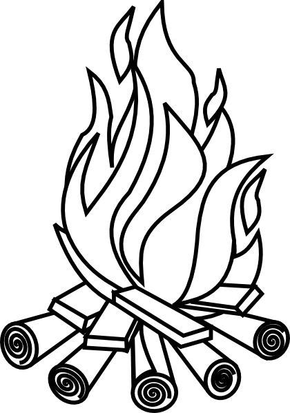 Black And White Fire Drawing.