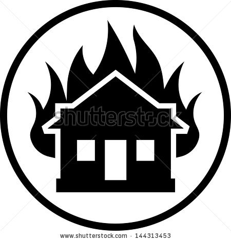 House Fire Clipart Black And White.
