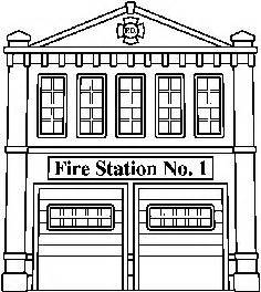 Black and white fire house clipart clipground for Fire station coloring page