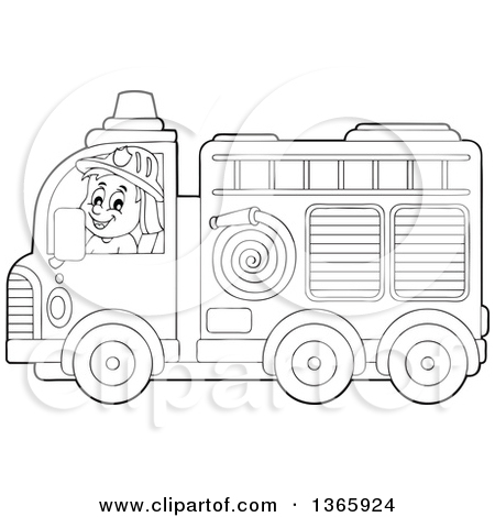 Lineart Clipart of a Cartoon Black and White Fire Truck with a.
