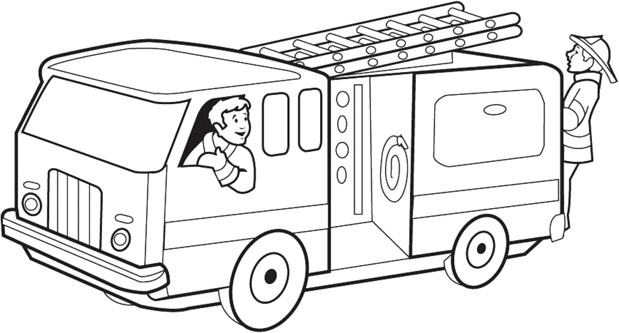 Fire truck clipart black and white 6 » Clipart Station.