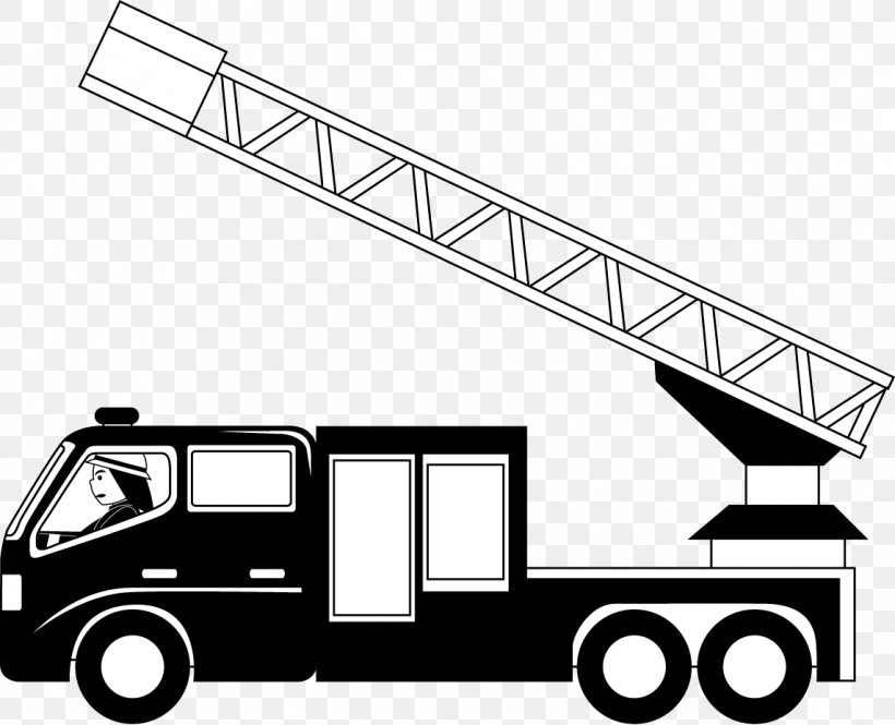 Car Fire Engine Truck Black And White Clip Art, PNG.