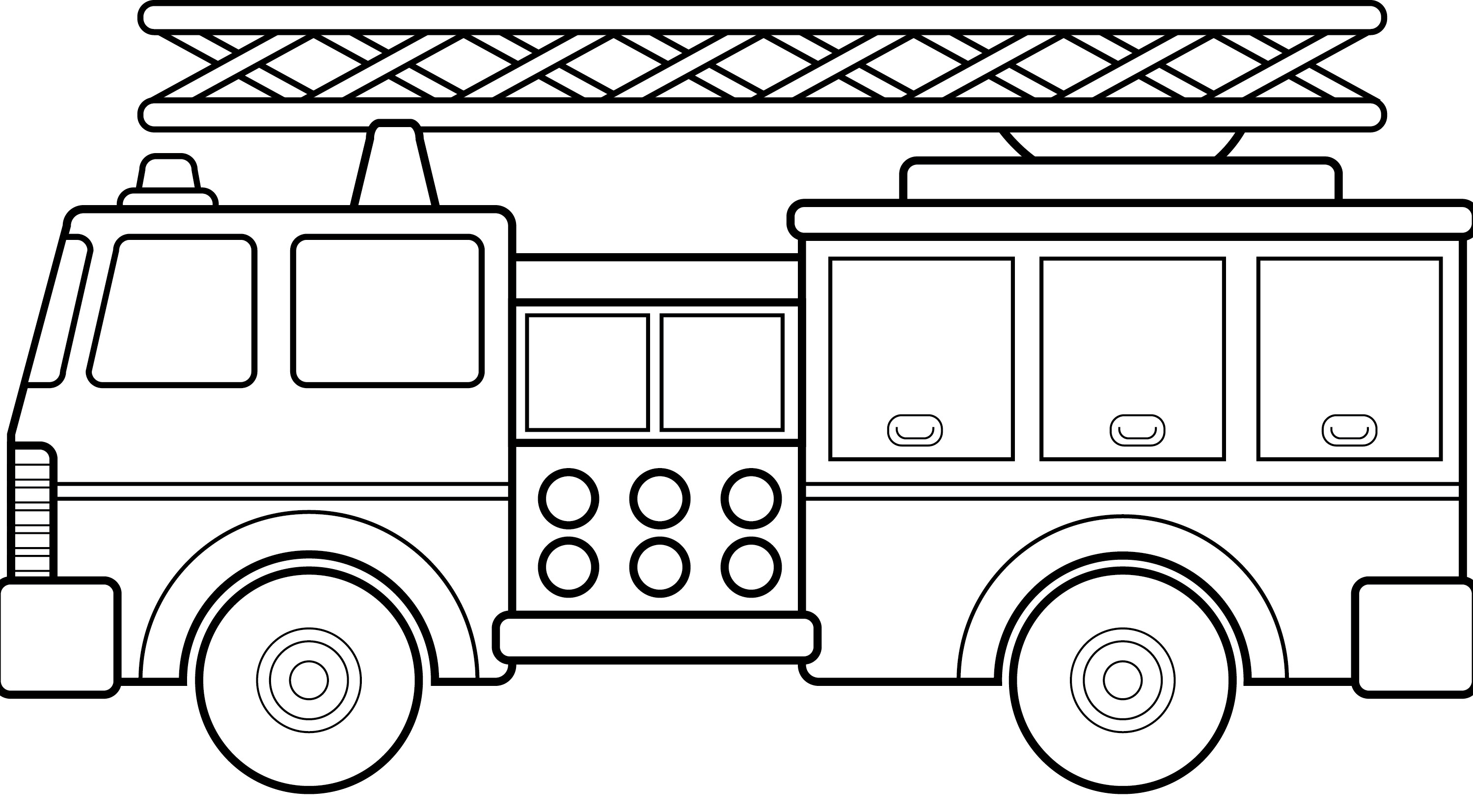 Black And White Fire Truck Clipart.