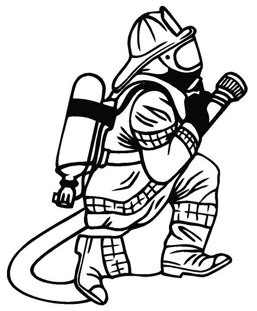 93+ Firefighter Clipart Black And White.