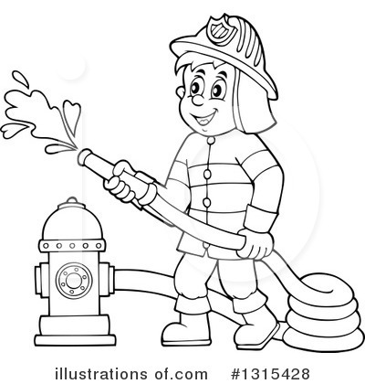 79+ Firefighter Clipart Black And White.