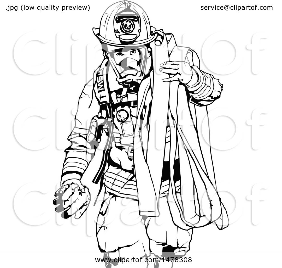 Clipart of a Black and White Fireman Carrying a Hose.
