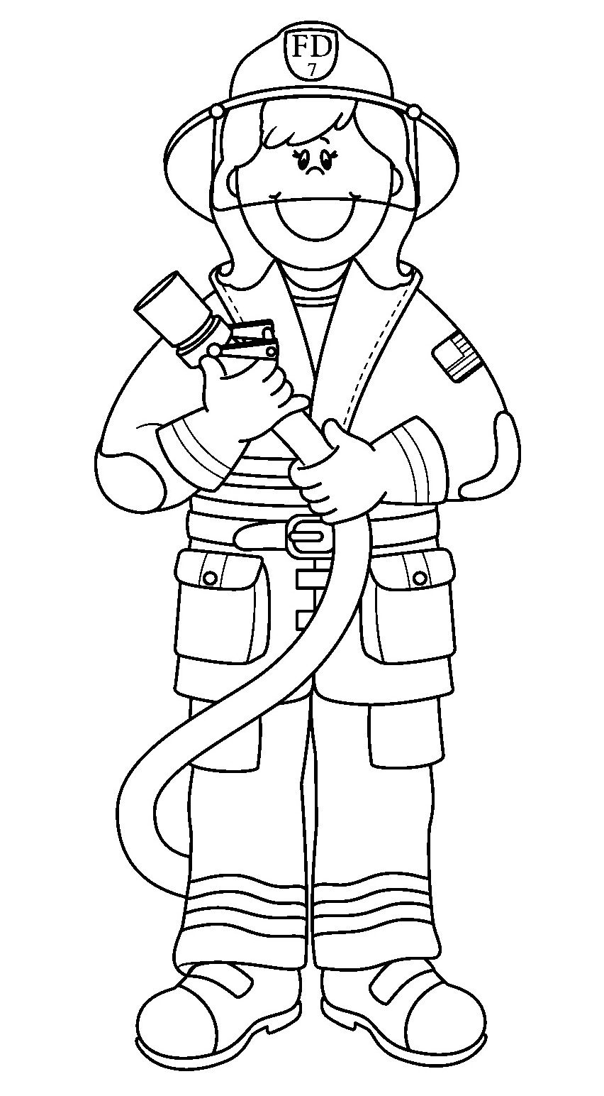 Printable Fireman Coloring Pages.