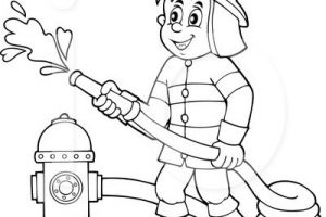 Firefighter Clipart Black And White.