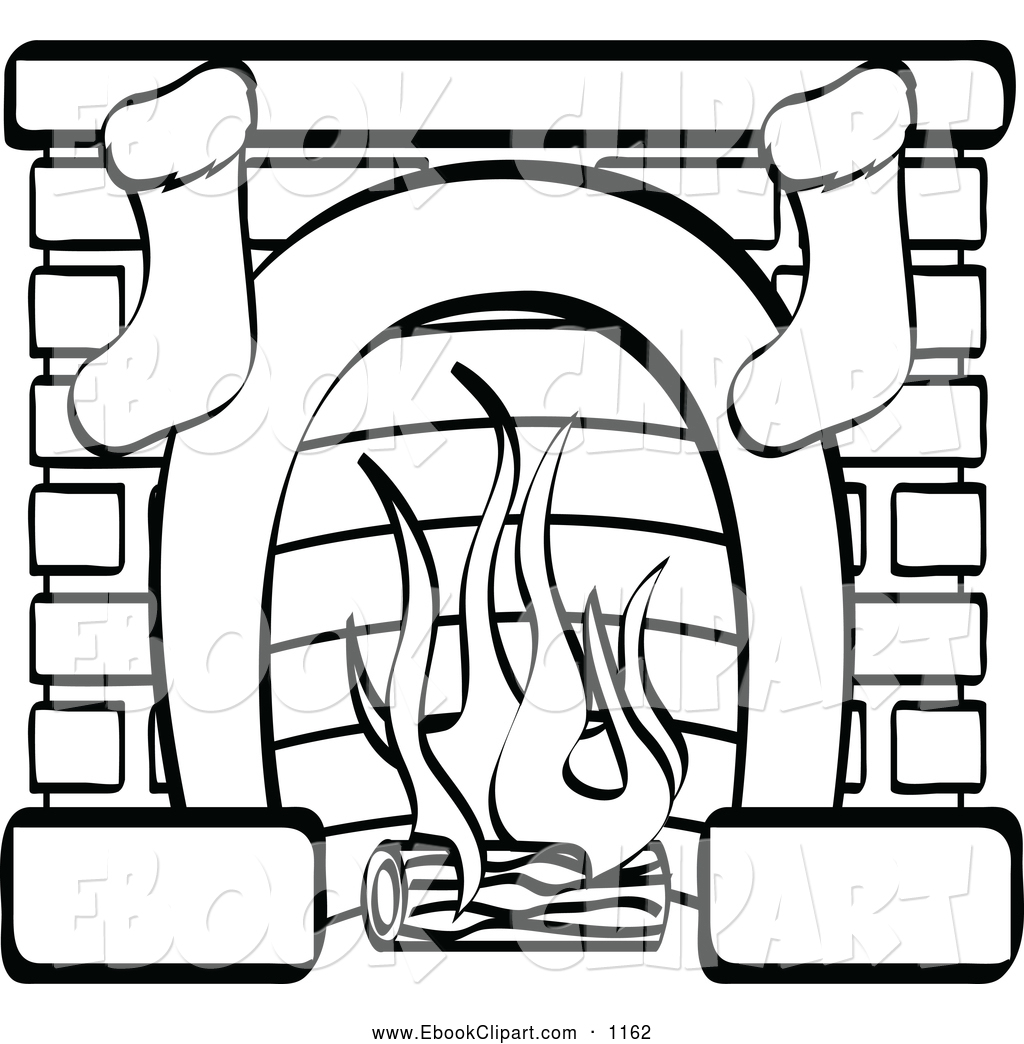 Stockings On Fireplace Clipart.