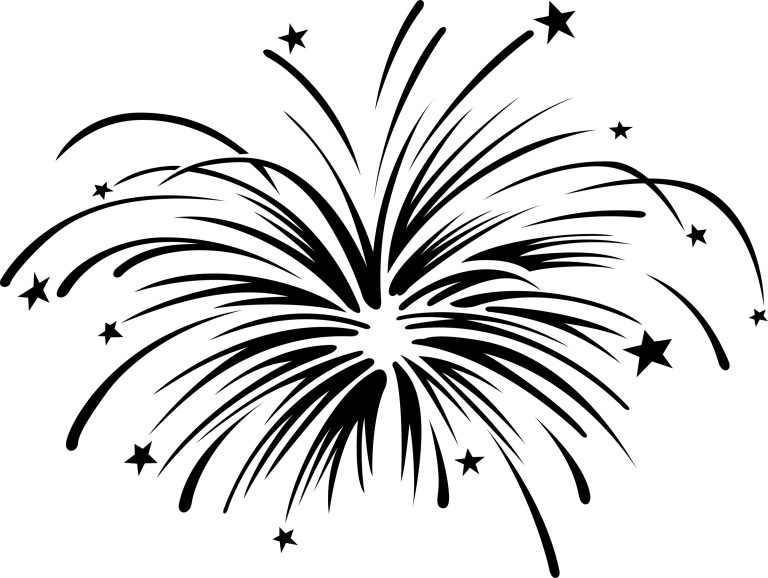 Fireworks clipart black and white free.