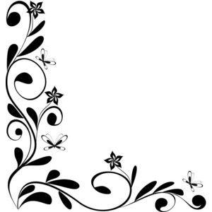 Flowers Border Design Black And White.