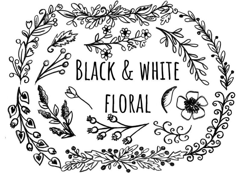 Black and White Floral Clipart, hand drawn floral clipart, black and white  floral banners, wedding invitation clipart, hand drawn clip art.