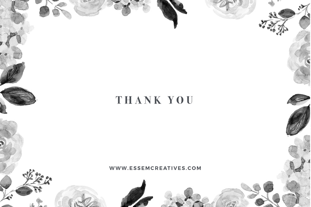 Black and White Watercolor Flowers Clipart, Gray Monochrome Noir Floral  Illustrations Graphics.