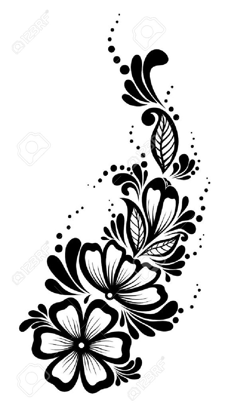 Beautiful floral element Black.