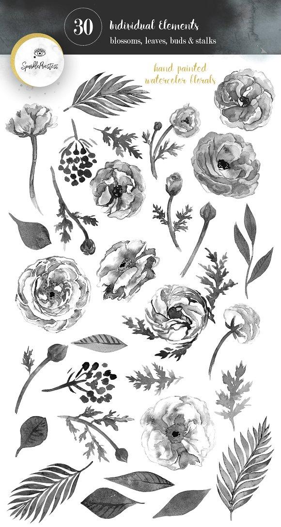 Elegant Black & White Floral Clipart.