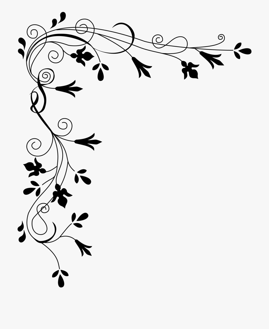 Hd Clipart Black And White Flower Border.