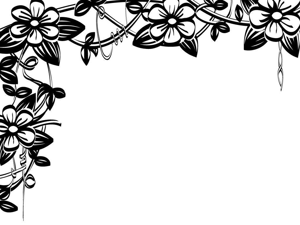 Flower border black and white flower clip art flower border.