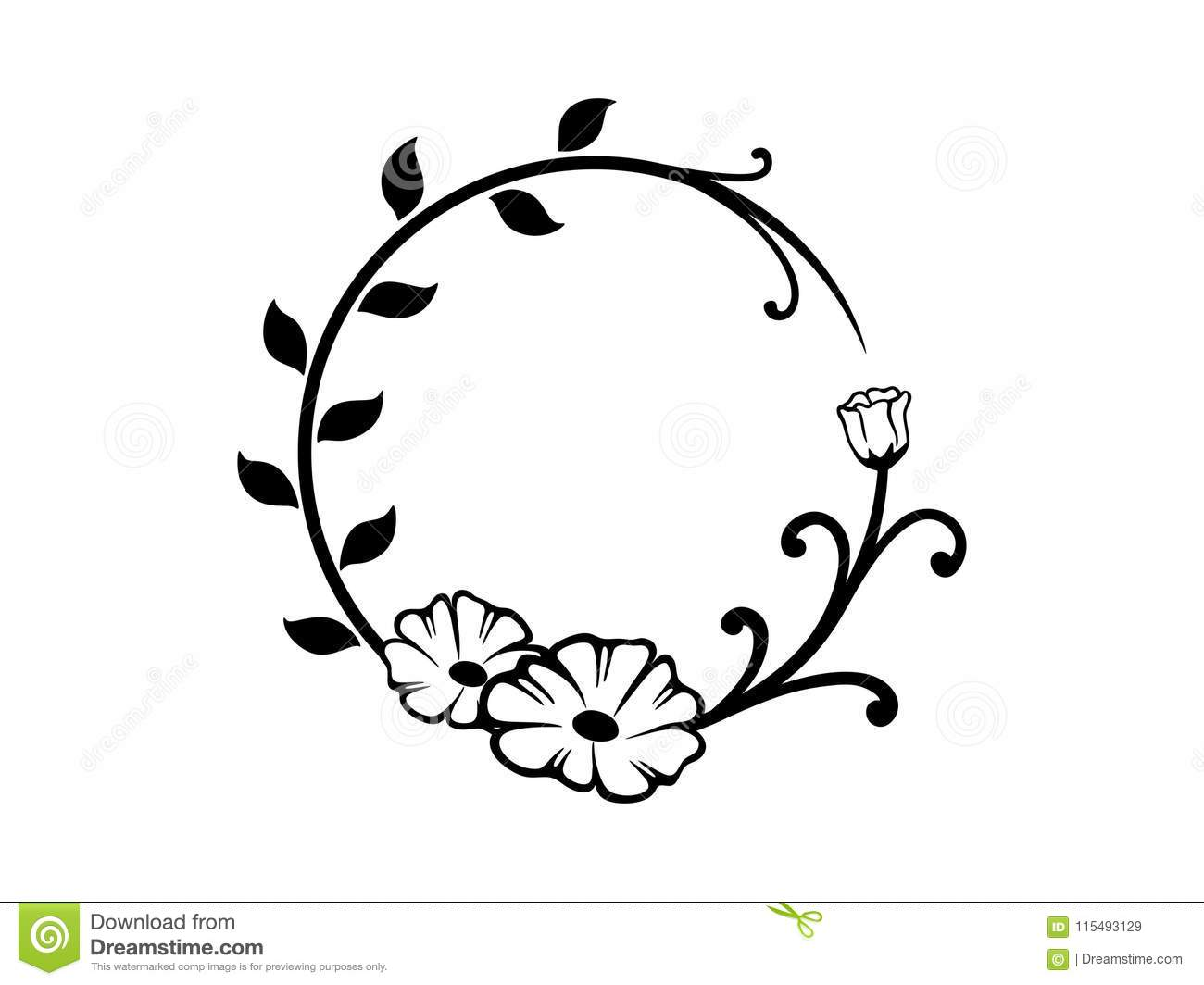 Black And White Round Floral Border Stock Vector.