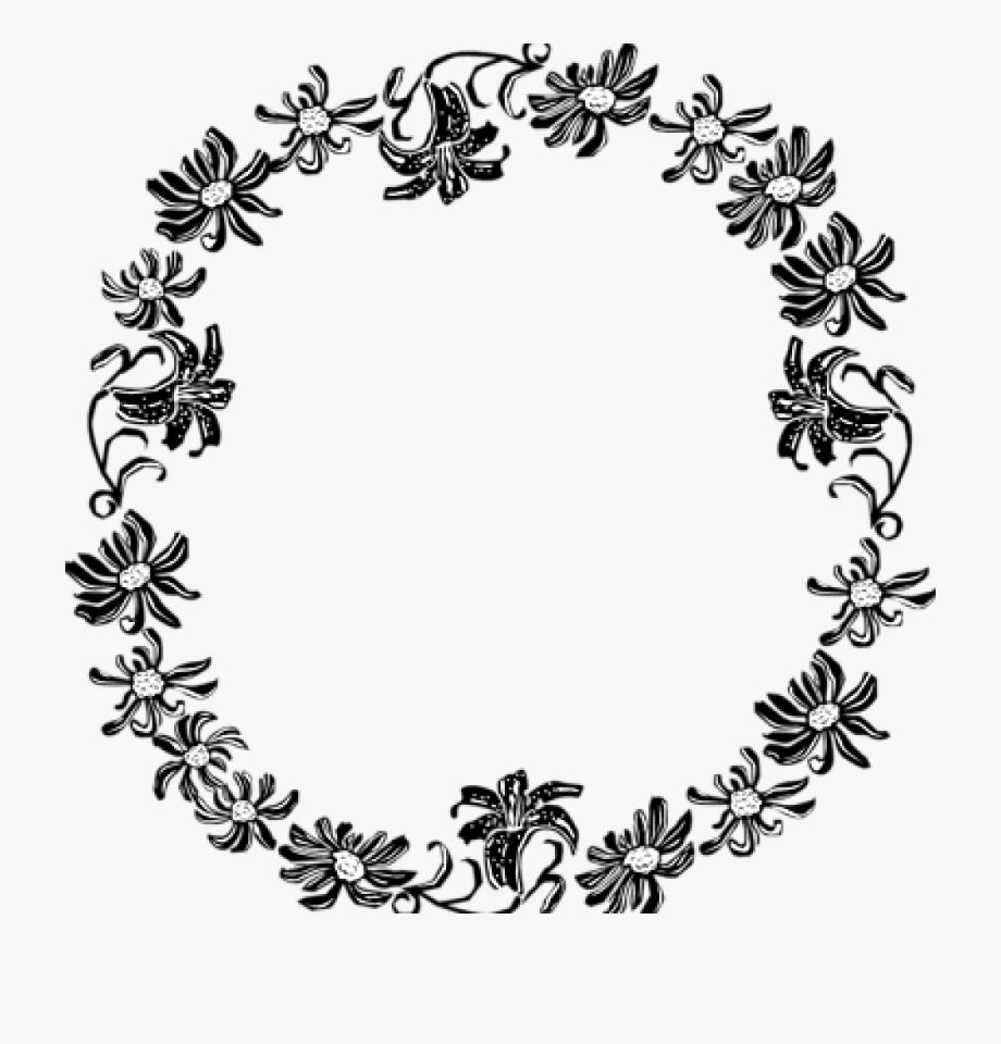 Border Clipart Black And White Black And White Flower.