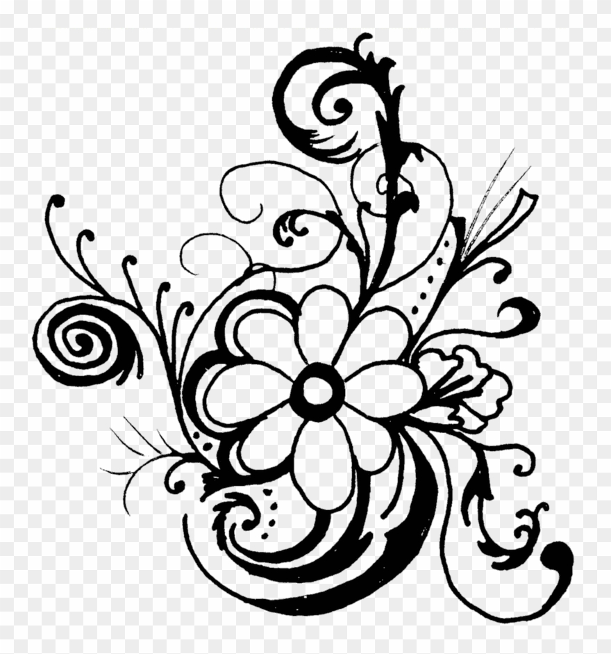 Monochrome Clipart Flower.