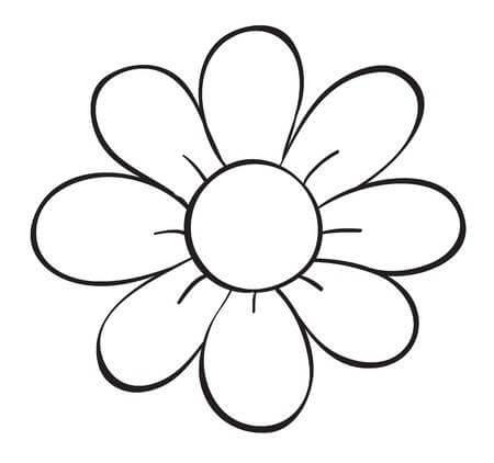Flower Clipart Black And White Simple Easy.