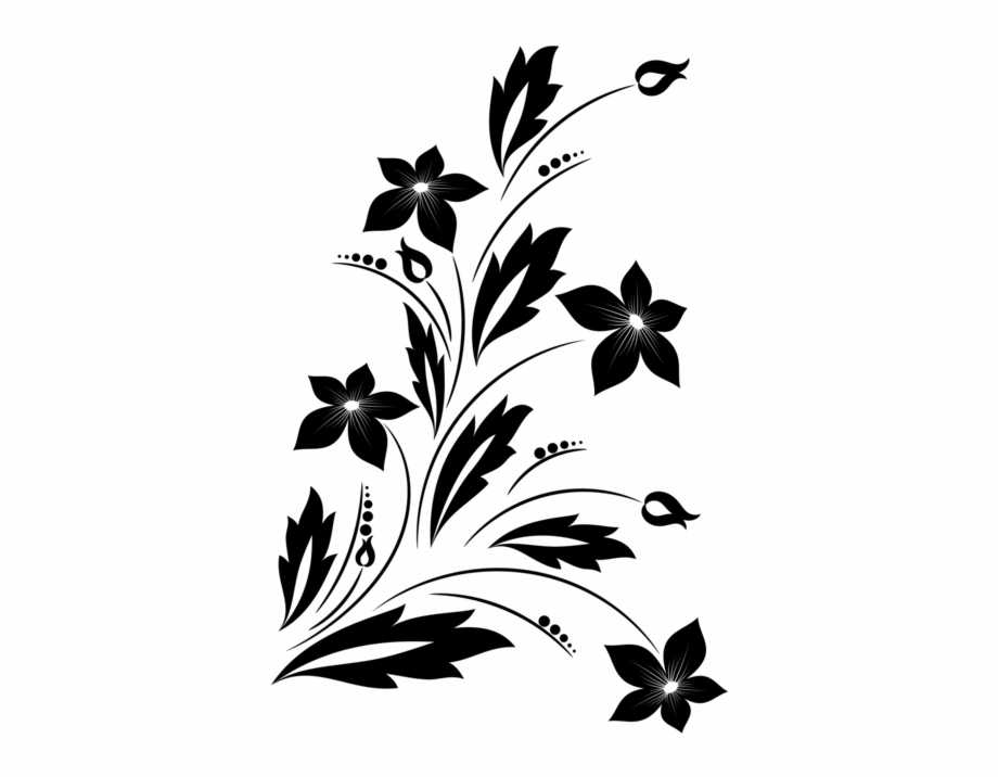 Flower Bouquet Floral Design Black And White Drawing.