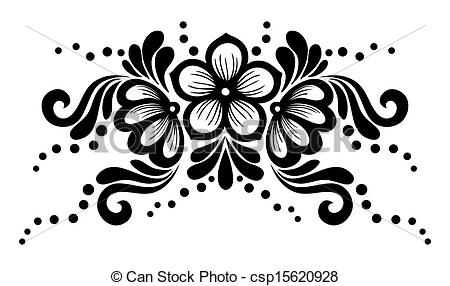 Black and white lace flowers and leaves isolated on white. Floral design  element in retro style..