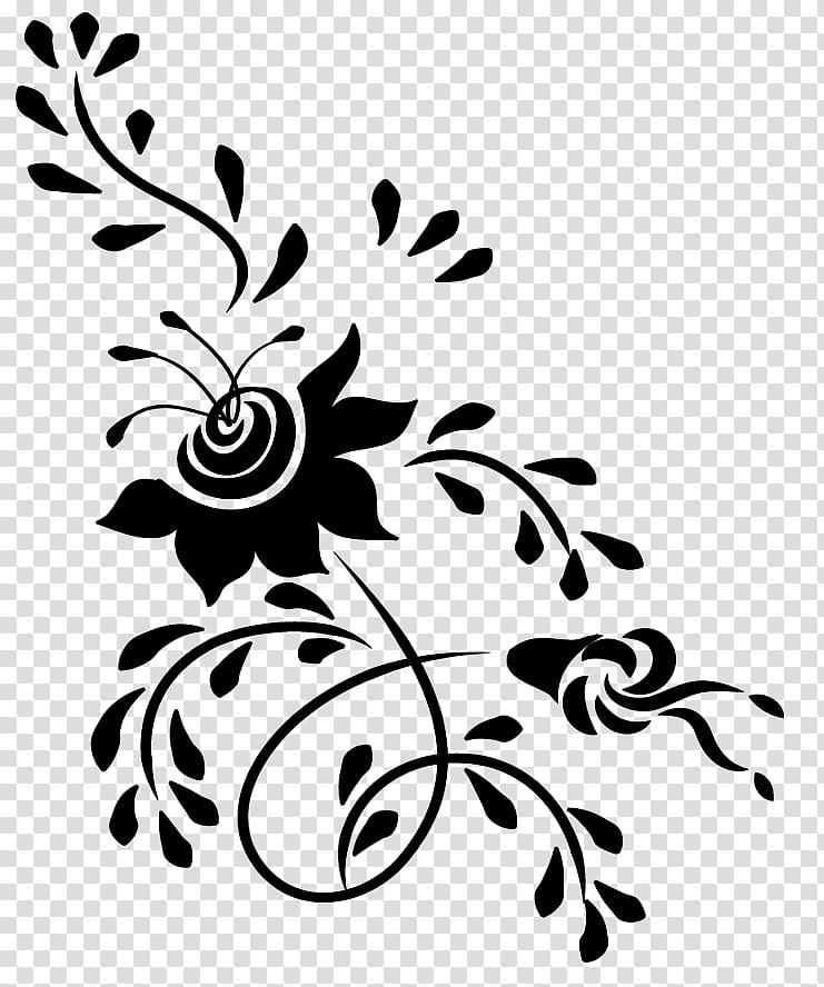 Flowers Design, black flower illustration transparent.