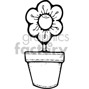 black and white daisy flower pot clipart. Royalty.