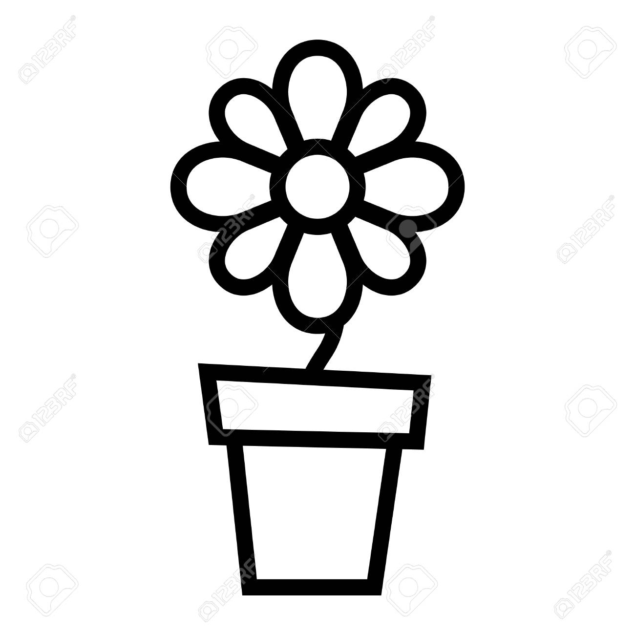 Black And White Flower Pot Clipart.