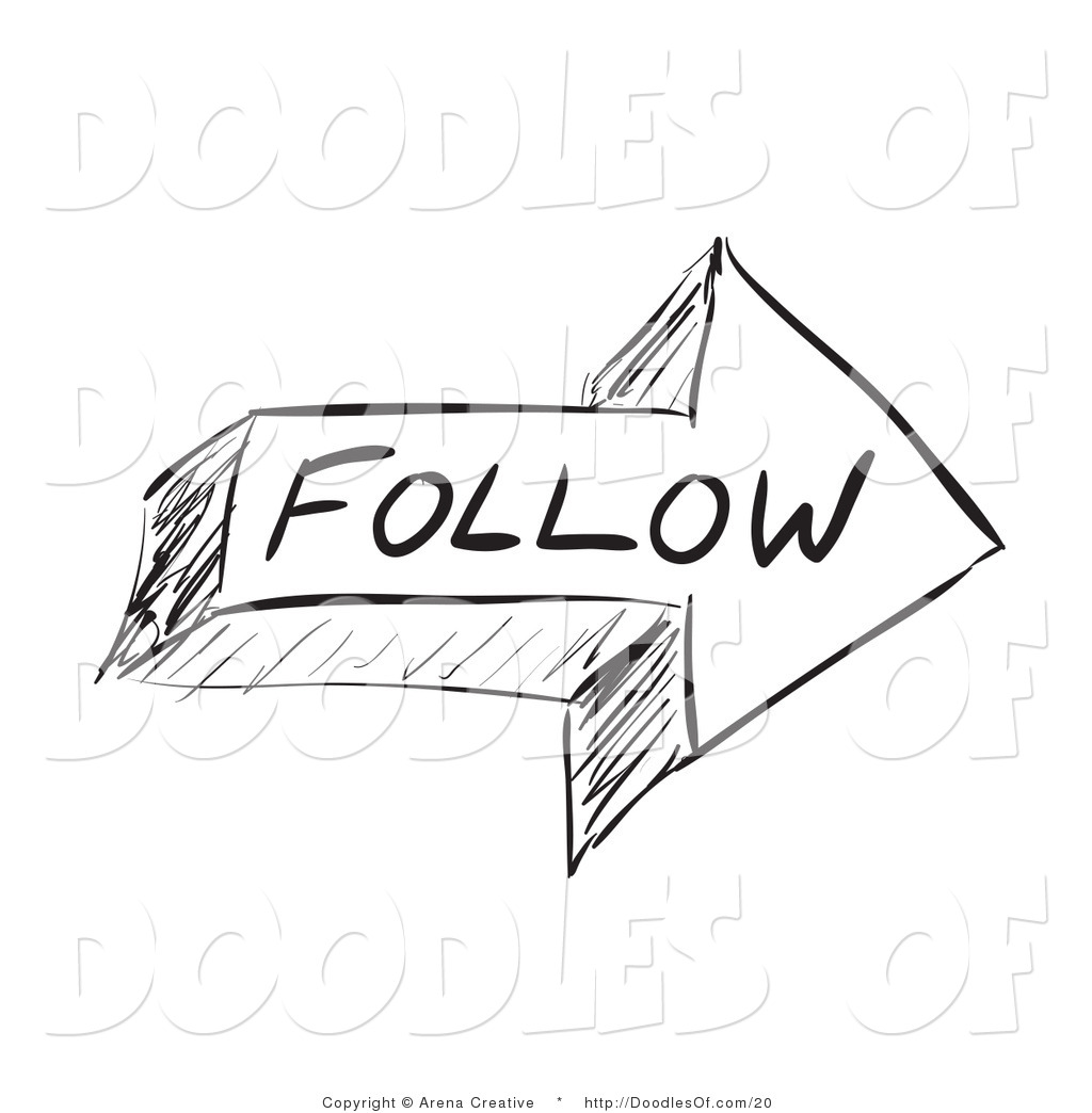 Vector Clipart of a Sketched Follow Arrow by Arena Creative.