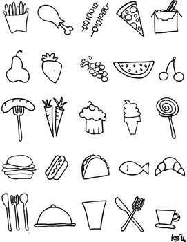 FREE Black and White Food Clipart.