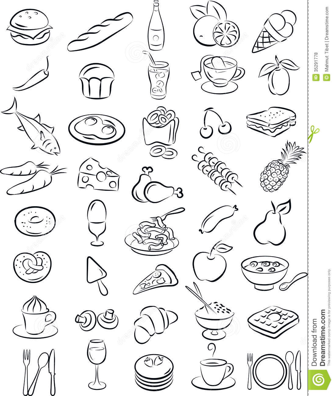 24+ Black And White Food Clipart.