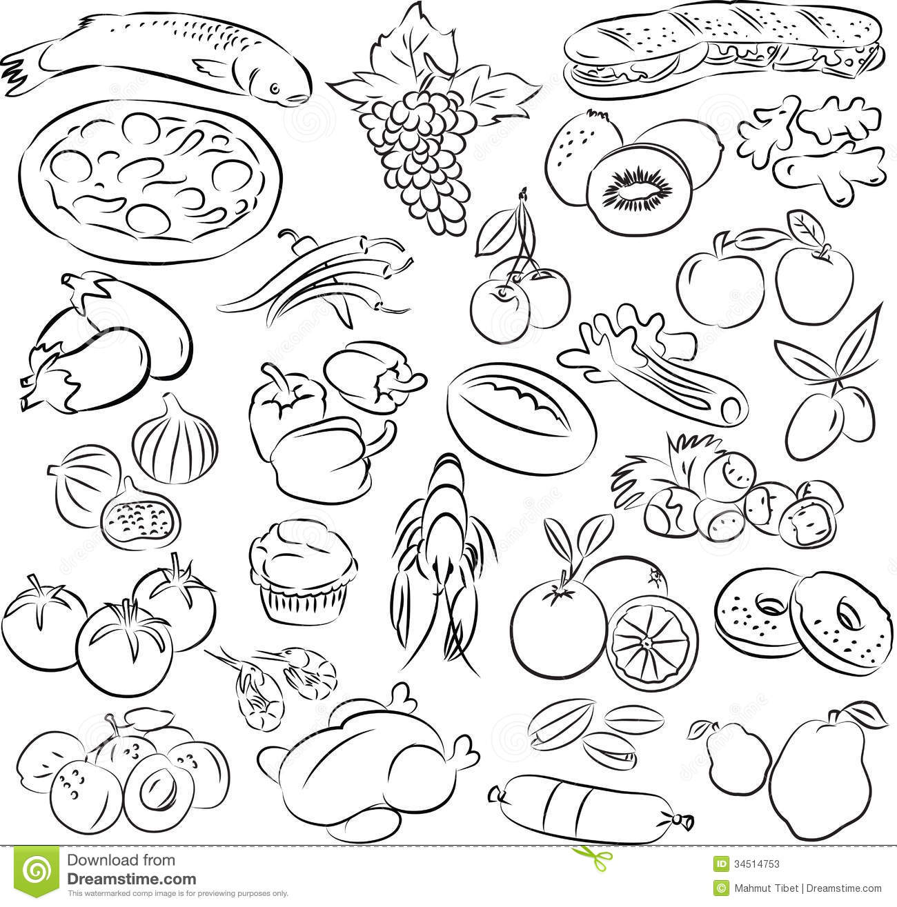 19 Black And White Vector Food Images.