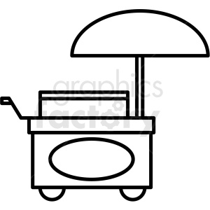 black and white food cart icon clipart. Royalty.