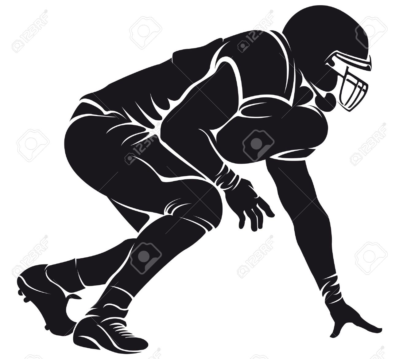 Best Football Player Clipart Black And White #21020.