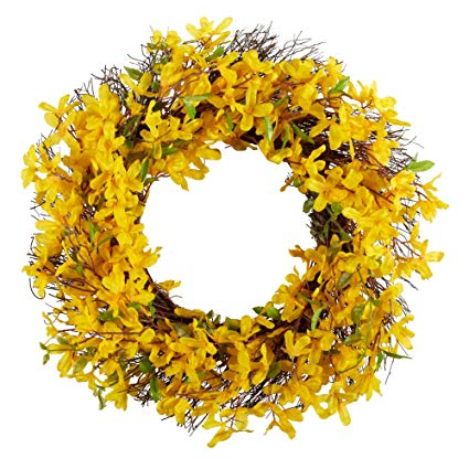 24 inch Spring Floral Front Door Forsythia Flower Wreath Dogwood Wreath  (YELLOW).