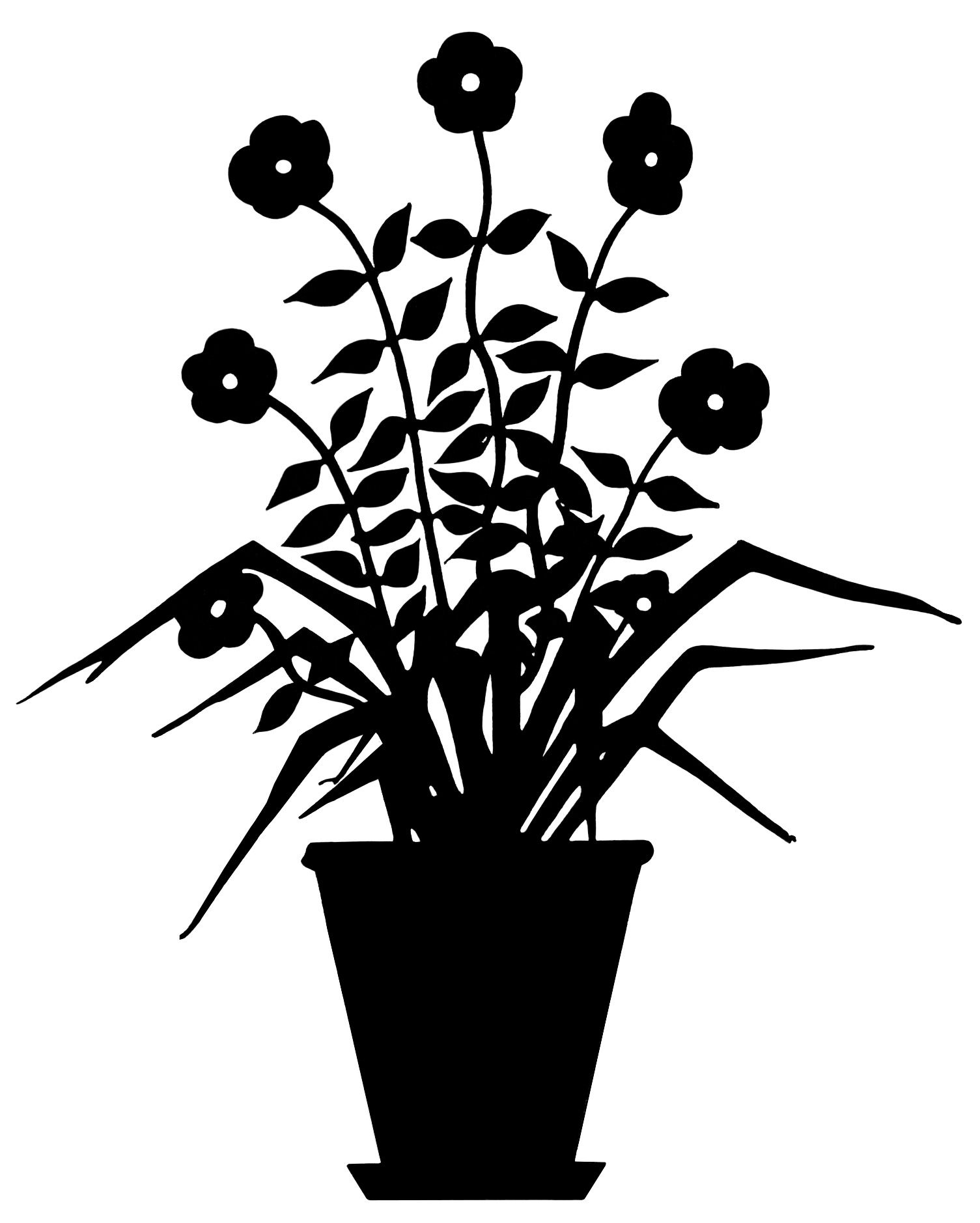 vintage flower clip art, flowering plant silhouette, black.
