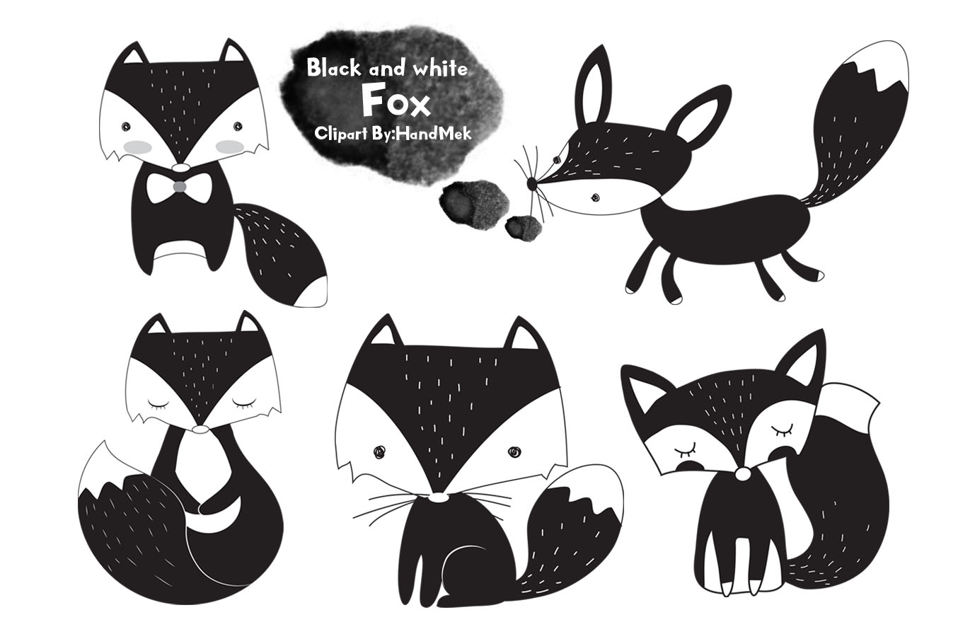 Black and white fox clipart..