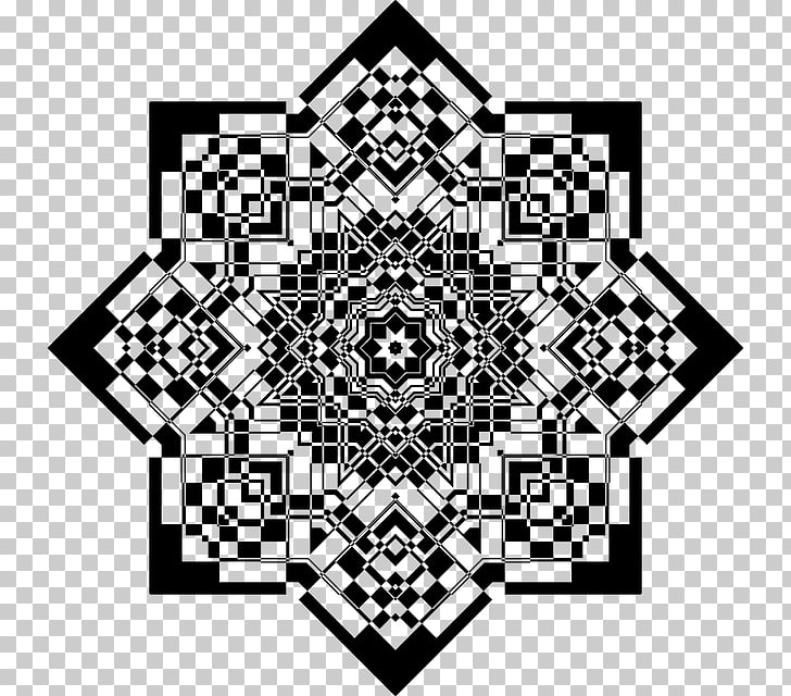 Black and white Geometry Art Fractal, Mandala design PNG.
