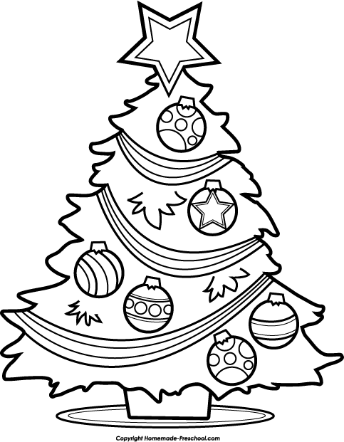 259 Christmas Tree Black And White free clipart.