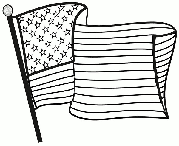 Free Black And White Flag Day Clipart.