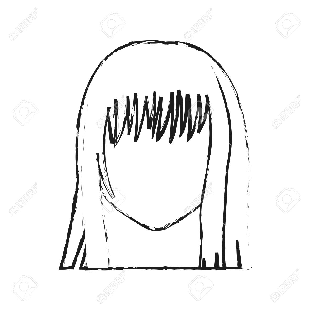 faceless young woman with long straight hair with fringe icon...