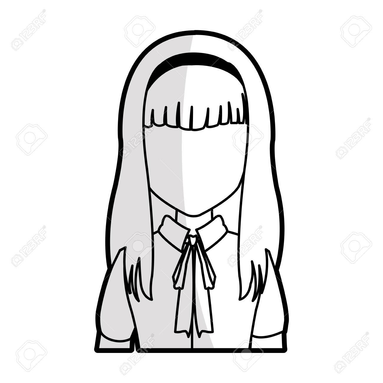 Straight Hair Clipart Black And White.