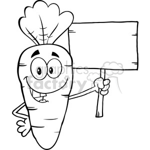 Royalty Free RF Clipart Illustration Black And White Funny Carrot Cartoon  Character Holding A Wooden Board clipart. Royalty.