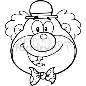 Royalty Free RF Clipart Illustration Black and White Funny Clown Head  Cartoon Character clipart. Royalty.