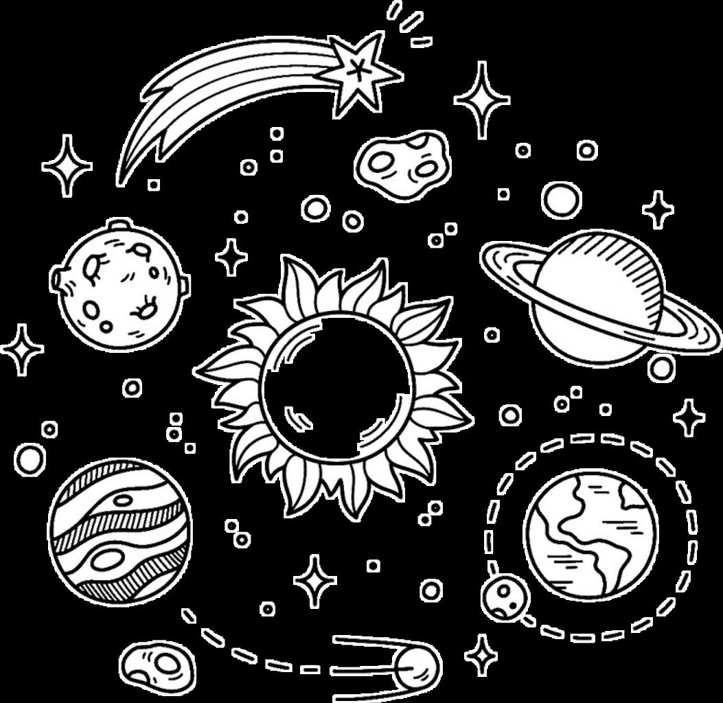 galaxy stars planets black white overlay design sticker.
