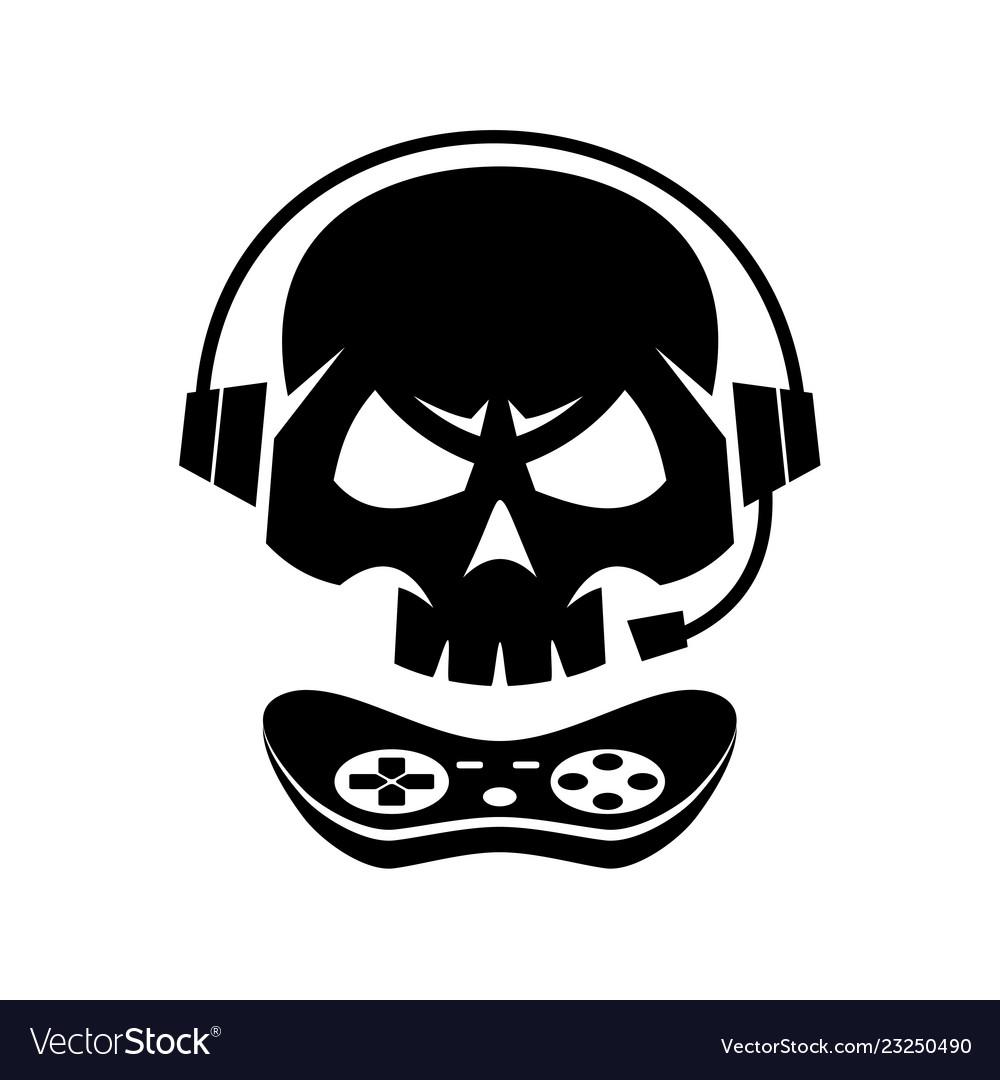 Black silhouettes joystick gamer skull isolated.