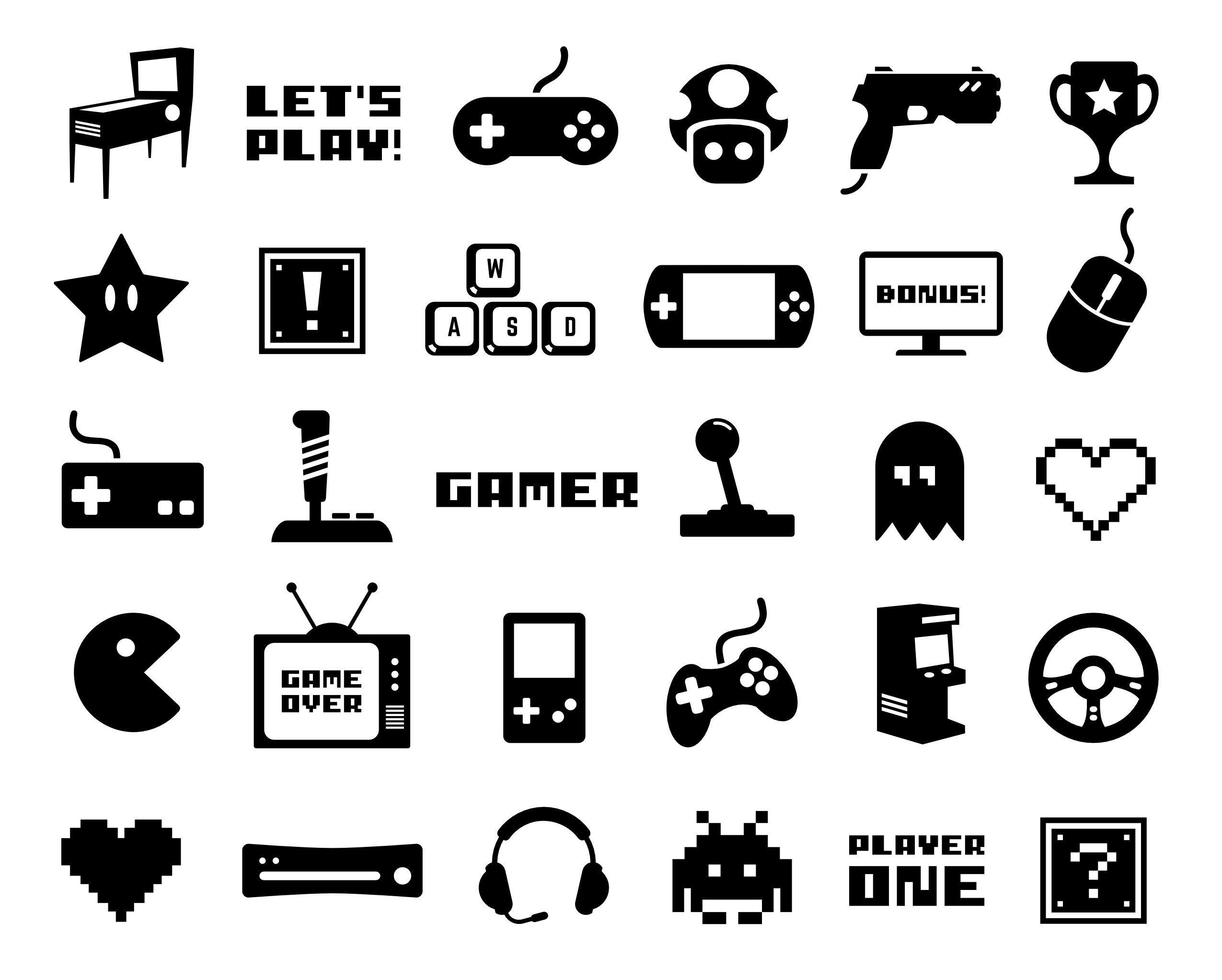 Gaming Clip Art Video Game Vector Art Gamer Silhouette.